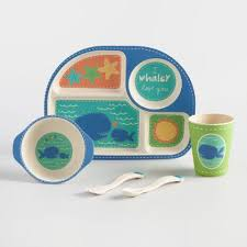 Kids Blue Whale Bamboo Dinnerware 5 Piece Gift