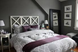 Bedroom Large Framed Windows Gray Paint Wall Black Sofa Bed Wooden Block St White