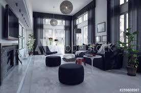 3d rendering luxuriöses wohnzimmer interieur mit schwarzem