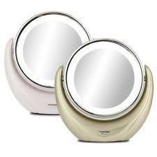 double sided cosmetic mirror led lighted compact makeup stand 5x
