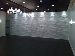 Living RoomElegant 3d Wave Shaped White Art Wall Panel Black Flooring And Ceiling Color
