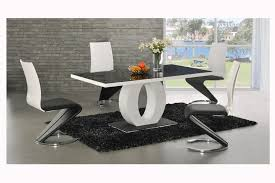 Dining Tables Contemporary Table Sets Room Black Glass Top With White