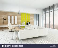 Bright Airy Living Room With Rustic Decor Wood Veneered Walls White Painted Floorboards Modern Lounge Suite And Chair Yellow Accents