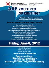 Urban League Hampton Roads Inc First Time Home Buyers Class