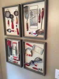 Grandmas Red Handled Utensils Mounted On Cloth Wallpaper Ticking In Rough Wood Frames