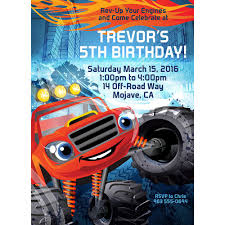 100 Red Monster Truck Personalized Invitation Each Wholesale Party