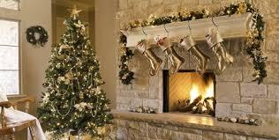 Gold Christmas Morning Tree Gifts Fireplace Stockings MaChristmas Skirtntel