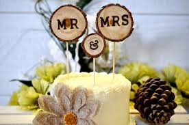 Rustic Wedding Cake Toppers 3pcs Decorations