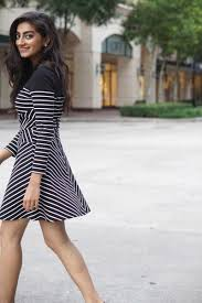long sleeve striped fit and flare dress business casual dresses