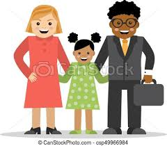 Mixed family of different races white mom black dad and baby