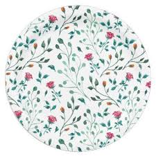 Rustic Floral Green Foliage Pattern Paper Plate