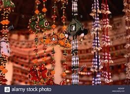 Traditional Locally Produced Handicrafts For Sale Beads Rope Hangings Bright Vibrant Colour Shilpgram Rajasthan India