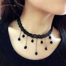 Steampunk Vintage Stretch Tattoo Choker Necklace Retro Gothic Irregular Hand Woven Lace Chain Black Resin Pendant
