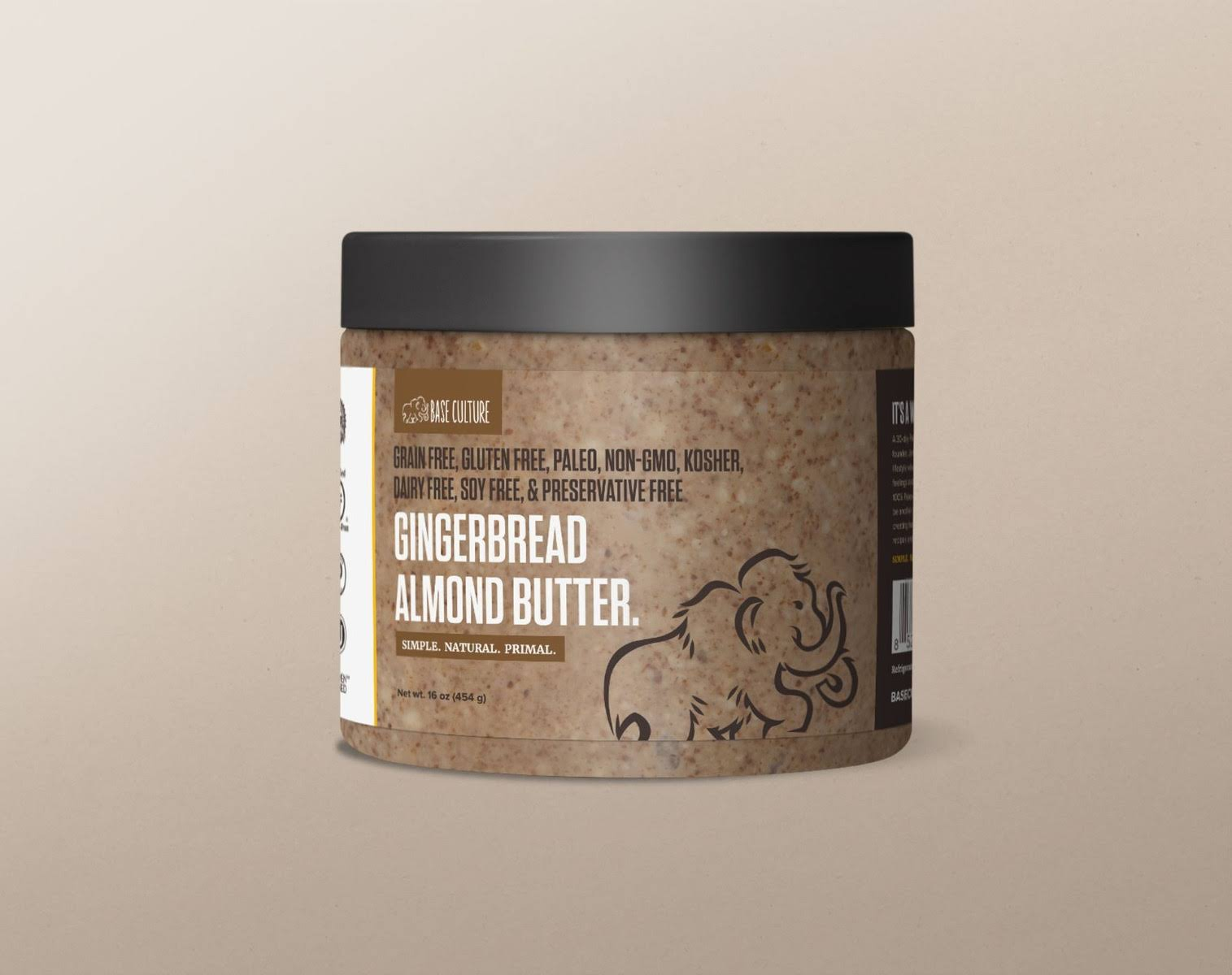 Base Culture Almond Butter, Gingerbread - 16 oz