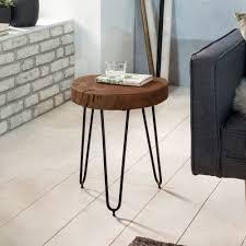finebuy design beistelltisch 30x30x41 cm sheesham massivholz fsc zertifiziert moderner wohnzimmer anstelltisch mit metallbeinen dreibein dekotisch