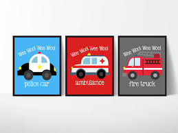 100 Emergency Truck Vehicle Themed Art Prints Wall Decoration Set Of Three