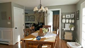 Country Farmhouse Style Dining Room Warm Wood Floor And Furniture Kylie M Interiors E Design Online Paint Color Consulting Sherwin Williams Dorian Gray