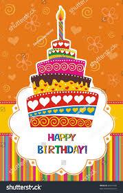 card with birthday cake Illustration