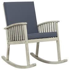 Beulah Outdoor Acacia Wood Rocking Chair, Light Gray Finish, Dark Gray