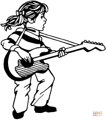 Click The Girl Plays Guitar And Sings Coloring Pages