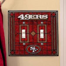 San Francisco 49ers Art Glass Double Switch Plate Cover
