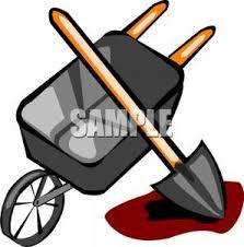 A Shovel and Wheelbarrow Clip Art Image