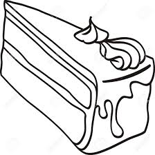 slice of cake clipart black and white 5