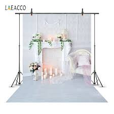 Laeacco Candles Fireplace Interior Scene Baby Newborn Photography Background Customized Photographic Backdrops For Photo Studio