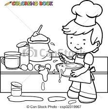Boy Cooking Coloring Book Page Vector