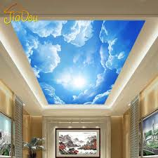 modern 3d photo wallpaper blue sky and white clouds room