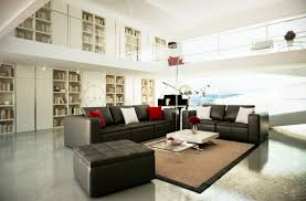 Living RoomClassy Modern Black And White Room Colour Scheme With Leather Sofa Set