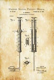 1899 hypodermic syringe patent decor doctor office decor nurse