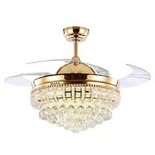 TiptonLight Modern Crystal Chandelier Ceiling Fan Lamp Folding Fans With Lights Chrome