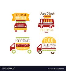 100 Truck Logos Set Of Logo Templates For Food Truck Festival Vector Image