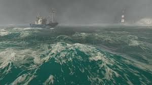 Lightning Storm With Heavy Rain In The Open Sea Small Fishing Boat At Foreground And Lighthouse Distance Realistic 3D Animation