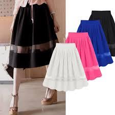 chiffon high waist a line splice flared short dress pleated midi skirt
