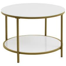 beistelltisch gadevang ø 65 cm weiß gold