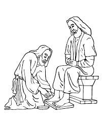 Kindness Washed Jesus Feet Colouring Page