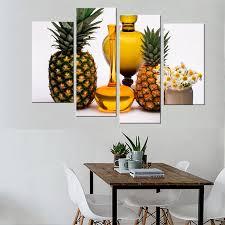 4 stücke ananas und wein moderne wandkunst leinwanddruck malerei wandbilder für wohnzimmer küche esszimmer