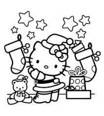 Christmas Hello Kitty Coloring Pages