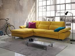 canapes d angle canapé d angle convertible en tissu jaune moutarde domizio avec