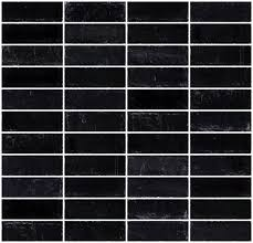 inch matte black glass subway tile stacked
