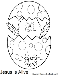 Easter Chick Popping Out Of Egg Jesus Is Alive Coloring Pages