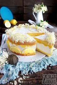 zitronen käsesahne mit holunderblüten und lemon curd