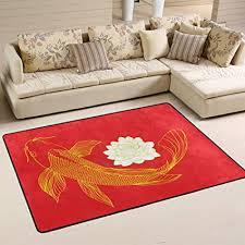 de mnsruu teppich koi karpfen fisch wasserlilie rot
