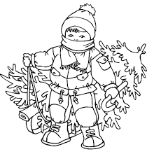 Kid With A Christmas Tree Coloring Page