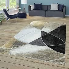 tt home wohnzimmer teppich kurzflor mit retro muster und linien in schwarz beige gold größe 120x170 cm