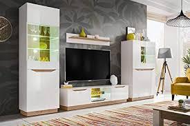 kryspol wohnwand fame anbauwand wohnzimmer set modern design weiß matt weiß glanz eiche artisan