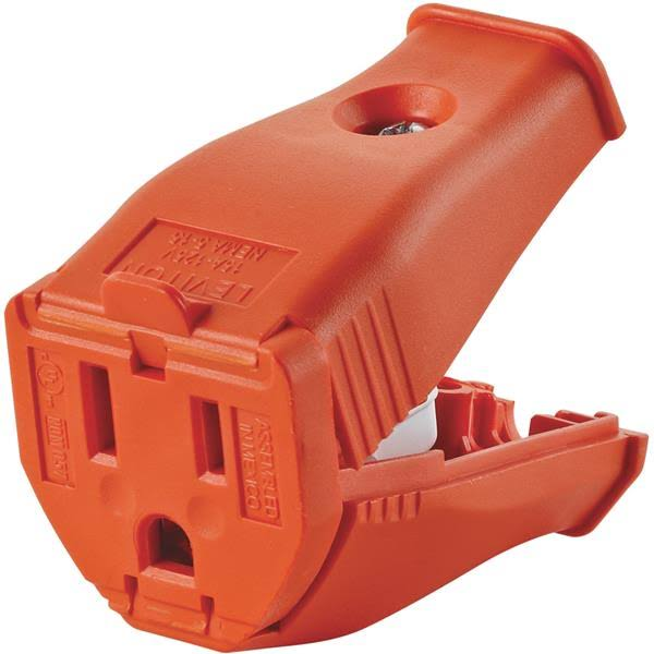 Leviton 3 Wire Grounding Cord Outlet - Orange, 2 Pole