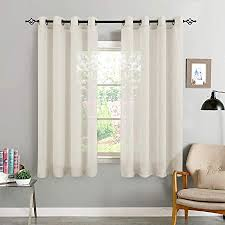 topick voile vorhang mit ösen transparent gardine gaze paarig ösenschals für wohnzimmer schlafzimmer 145 cm x 140 cm 2er set hell beige